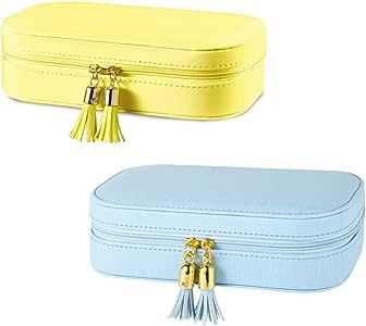 Vlando Faux Leather Tassels Travel Jewelry Box Organizer Display Storage Case Take-Out Handbags (Pink & Yellow)