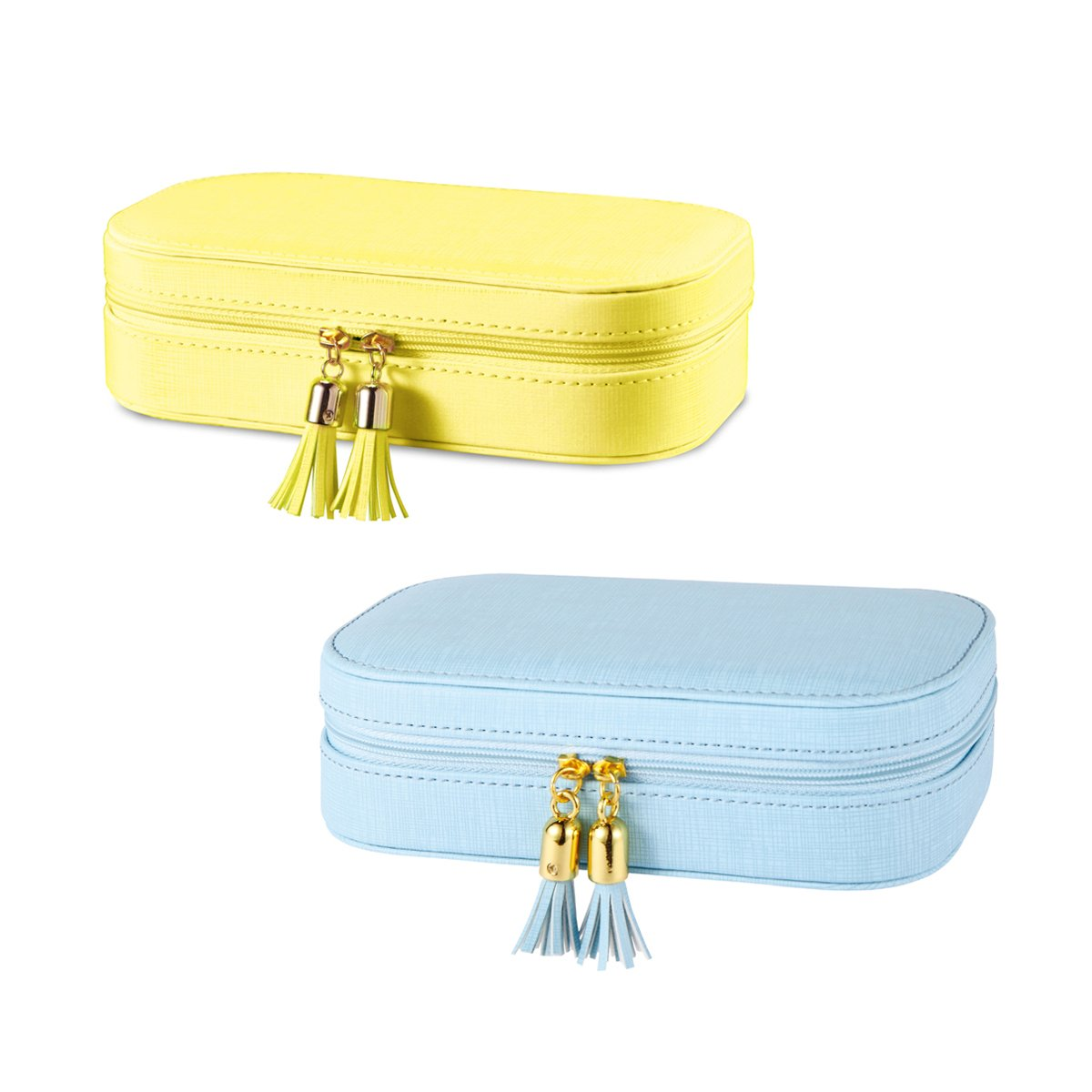 Vlando Small Tassel Travel Jewelry Box Organizer Display Storage Case for Girls Women (NEW TASSEL DESIGN (YELLOW + BLUE))