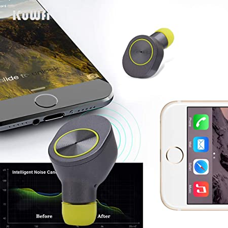 Amazon.com: KuWFi Truly Wireless Earbuds TWS Mini Wireless Bluetooth Earphones Sport Bluetooth V4.2 Earphone with Mic Bass Stereo Earbuds Magnetic Charger ...