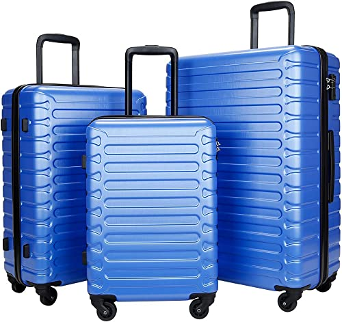 SHOWKOO 3 Piece Luggage Sets Expandable ABS Hardshell Hardside Lightweight Durable Spinner Wheels Suitcase with TSA Lock Blue