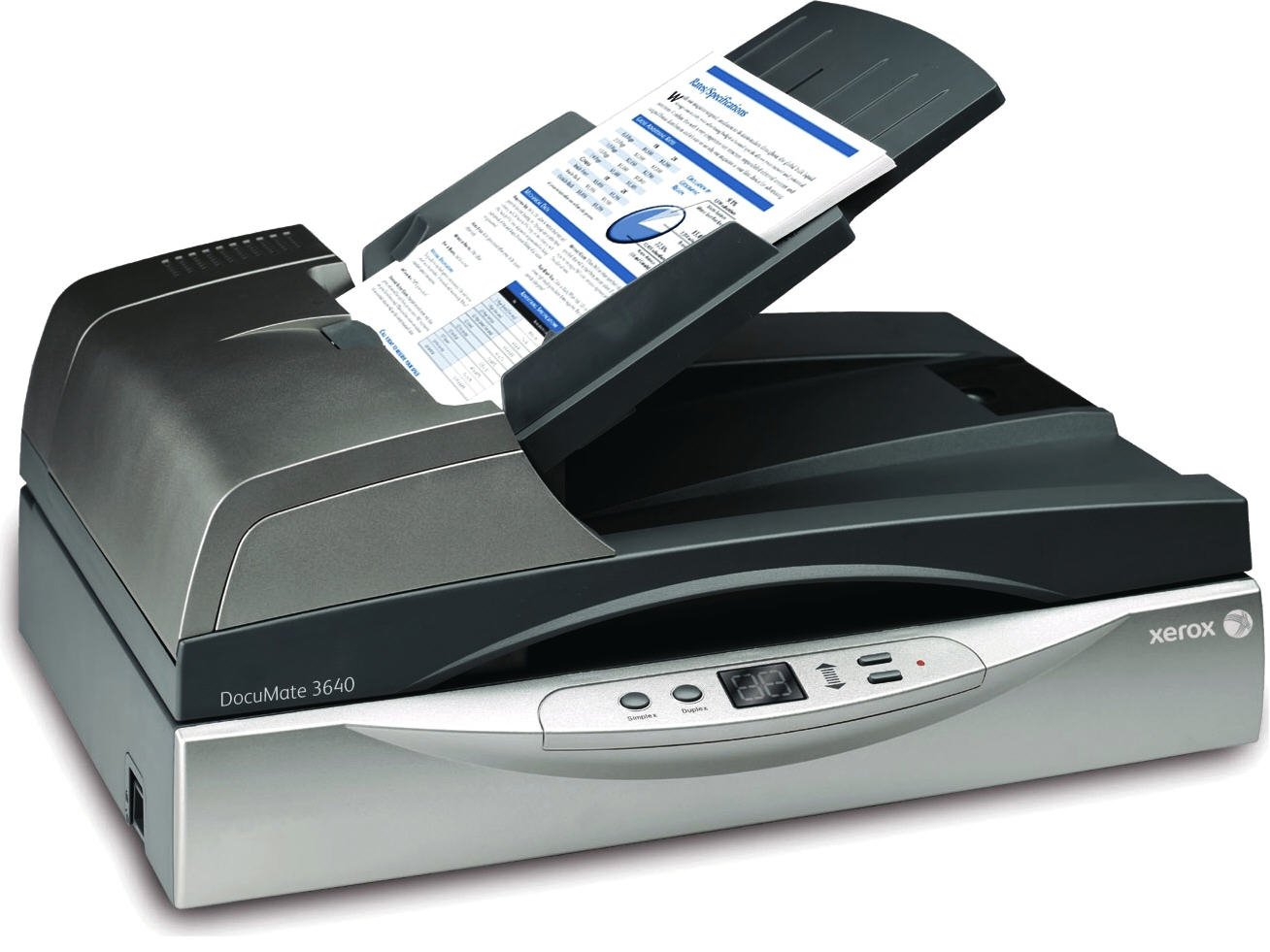 Xerox DocuMate 3640 Departmental Duplex 40 PPM 80 IPM Legal Size Flatbed Scanner