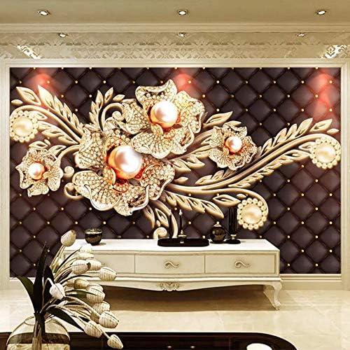 Ansyny カスタム壁画壁紙3Dステレオ黒シンプルなジュエリーダイヤモンドパールフラワーヨーロピアンスタイルリビングルームテレビ背景壁紙-360X220CM