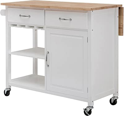 Amazon Com Winsome Wood Utility Cart Natural Kitchen