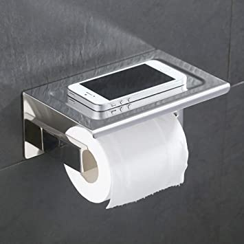 Amazoncom Bathroom Tissue Holder With Phone Shelf Angle Simple