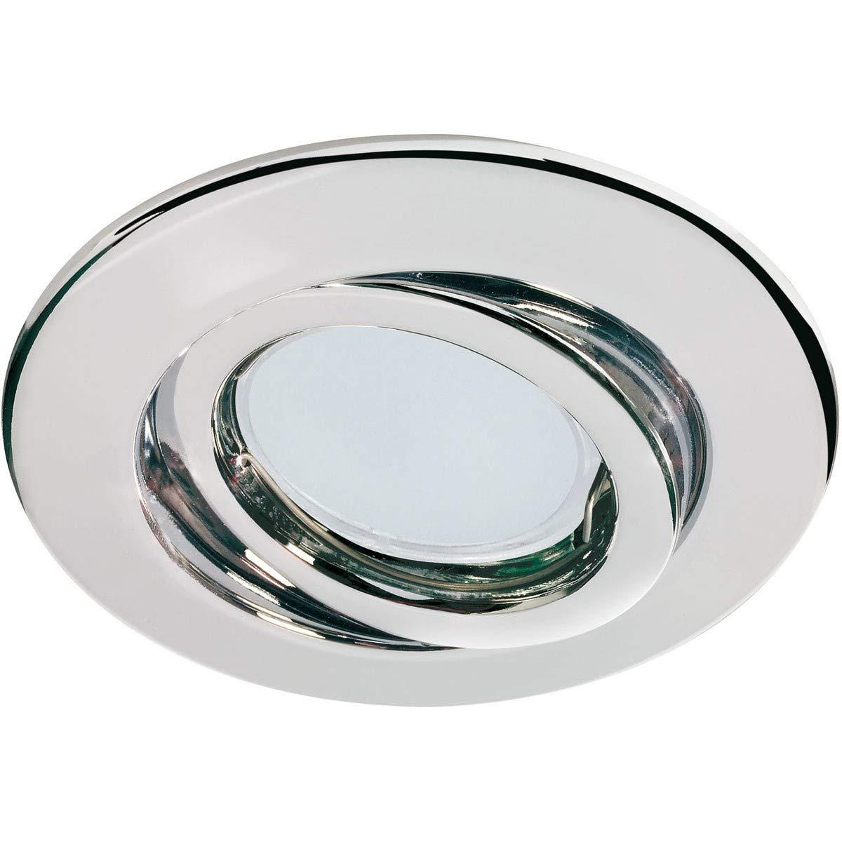 Quality line recessed light set, Energy Saving Chrome, Swivelling, 3 pc. set