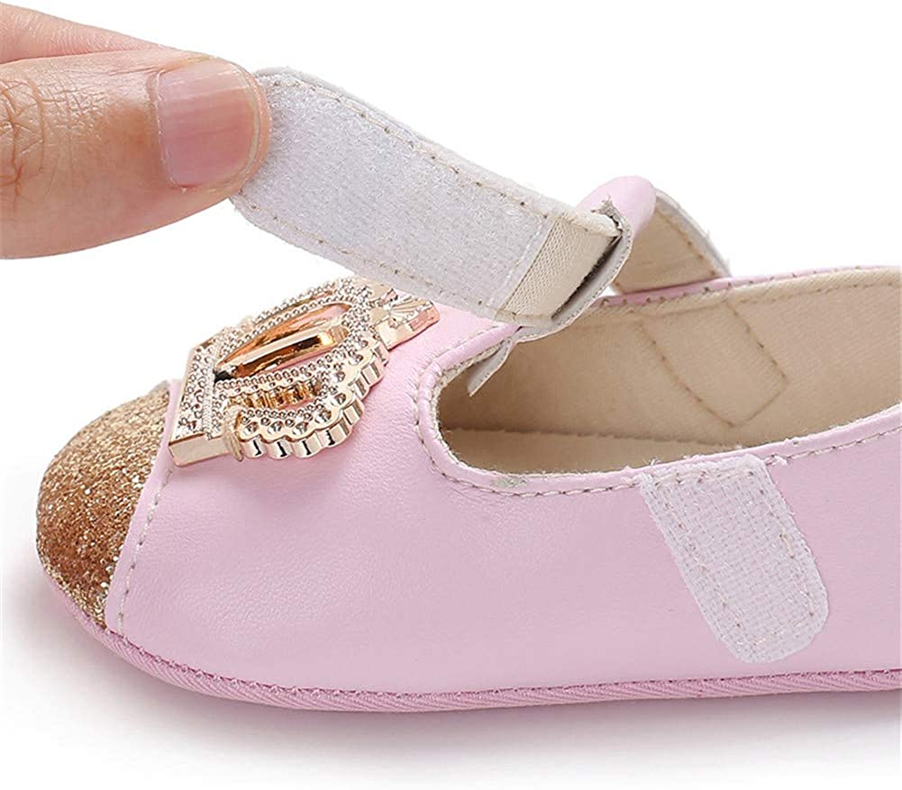 UWESPRING Baby Girls Mary Jane Flats Royal Crown with Socks