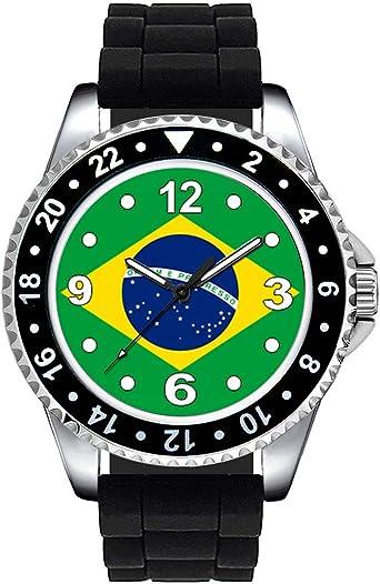 Timest - Bandera de Brasil - Unisex Reloj con Correa de Silicona Negro Analógico Cuarzo SE0366SB: Amazon.es: Relojes