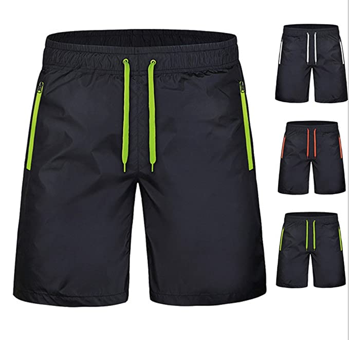 Haodasi Men Fashion Summer Soft Casual Sports Beach Shorts Strand Shorts  Swim Shorts Pool Swimwear Bademode Color Black-Green Size L: Amazon.de:  Bekleidung