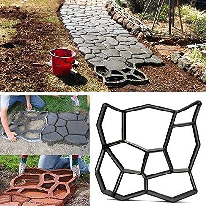 Bluelover 45Cm Bricolaje Jardín Plástico Path Maker Molde Manualmente Pavimento Cemento Ladrillo Piedra Carretera Herramienta Auxiliar
