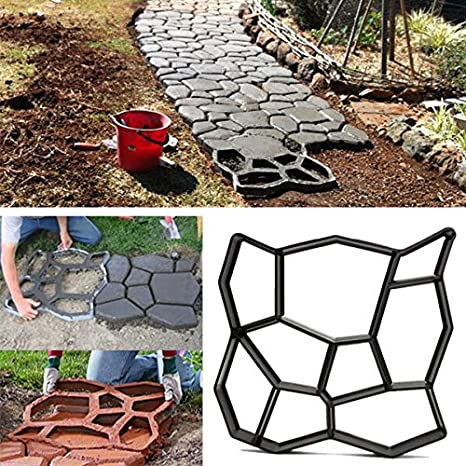Bluelover 45Cm Bricolaje Jardín Plástico Path Maker Molde Manualmente Pavimento Cemento Ladrillo Piedra Carretera Herramienta Auxiliar: Amazon.es: Hogar