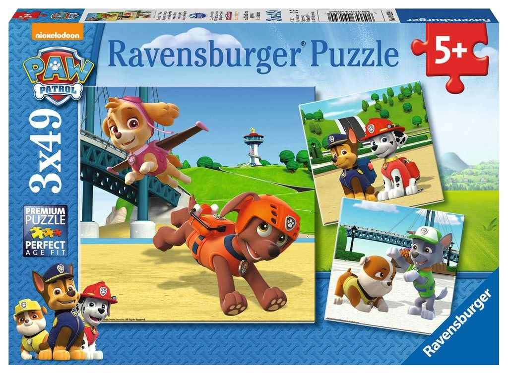 Ravensburger 9239 Paw Patrol-3 x 49 Piece Jigsaw Puzzles for Kids Age 5 Years and up, Multi-Colour