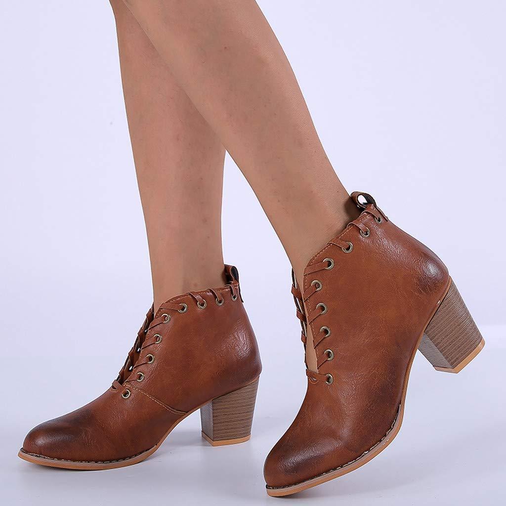 Berimaterry Botines Mujer Tacon Invierno Planos Tacon Ancho Piel Botas de Mujer Medio Zapatos Combat Casual Planas Zapatos de Plataforma