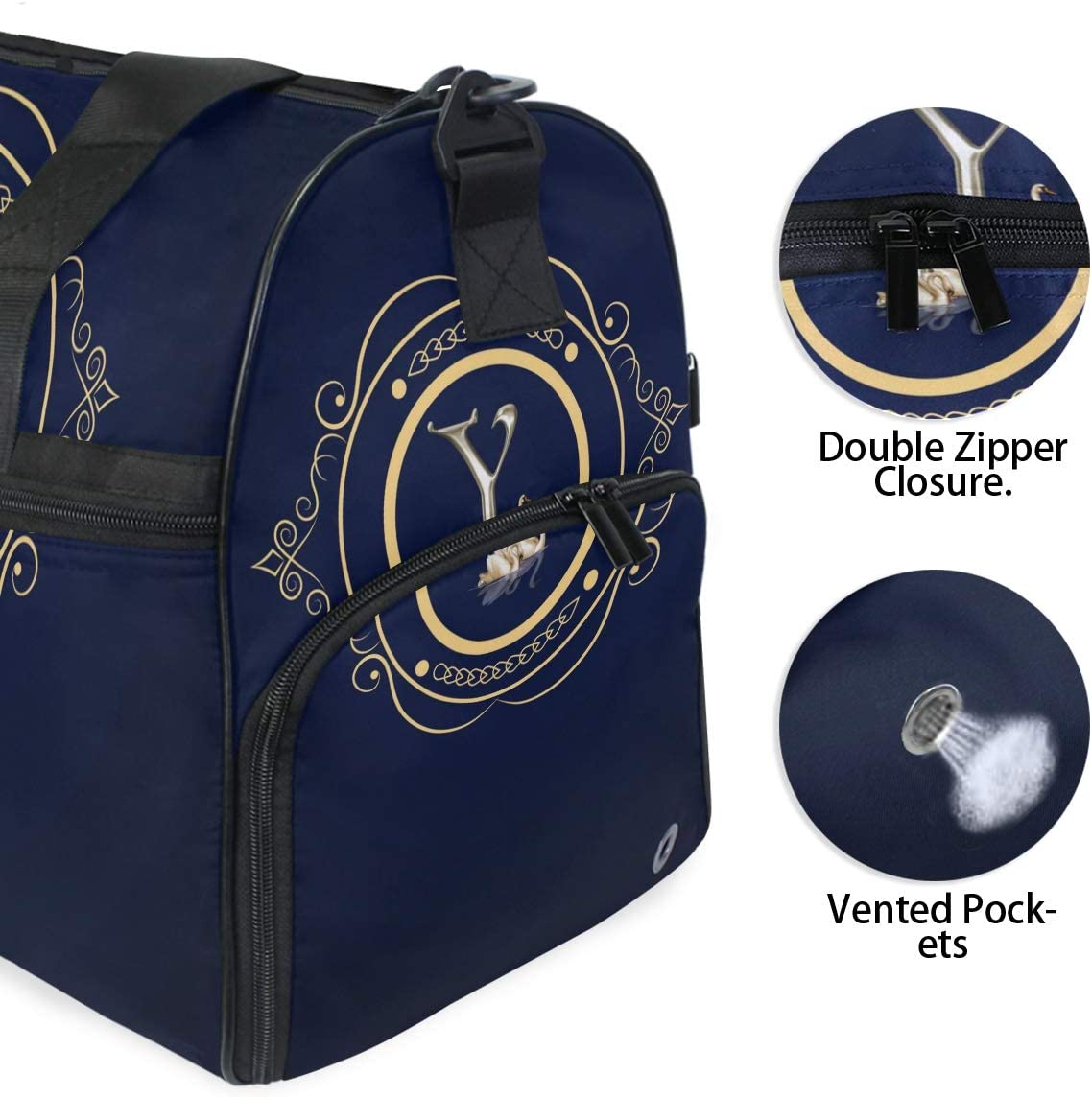 Weekender Bag with Shoes Compartment for Men Women MALPLENA Letter Y Travel Duffel Bag