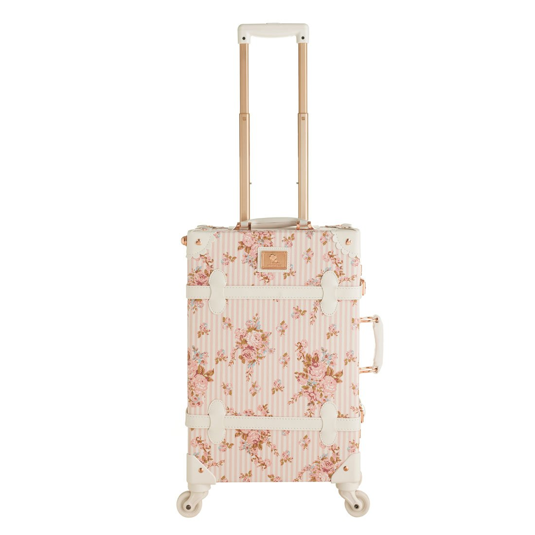 Retro Women Floral Pu Leather Travel Suitcases 20'' - 26'' with Spinner Wheels for Girls (26'', Pink floral) by UNIWALKER