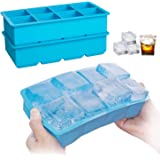 Ice Cube Tray, 2 Pack Silicone Ice Cube trays , 8 - Ice Cubes, Large Square Ice Cube Makers for Whiskey, Cocktail…