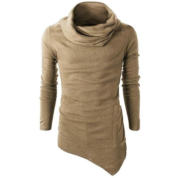 feiXIANG Camiseta de Hombre de Moda Camisa de Vestir Camiseta Solid Color Tops Blusa (Amarillo