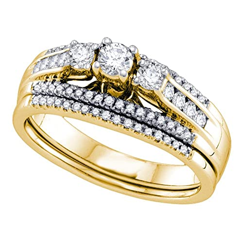 Anillo de compromiso de oro amarillo de 14 quilates para mujer, redondo, 3 piedras, diamante, para boda, novia, 1/2 quilate: Amazon.es: Joyería