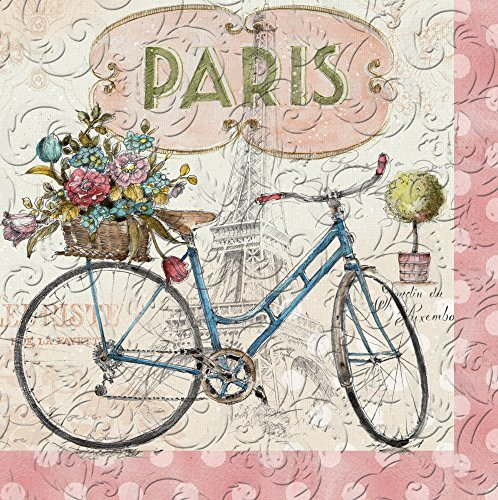 Cypress Home Paris Forever Embossed Paper Luncheon Napkin, 20 count