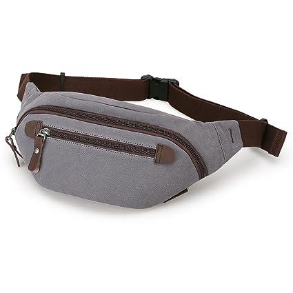 ce703786eae2 Muzee Mens Canvas Waist Pack Running Sling Backpack Crossbody Bag Fanny  Packs…