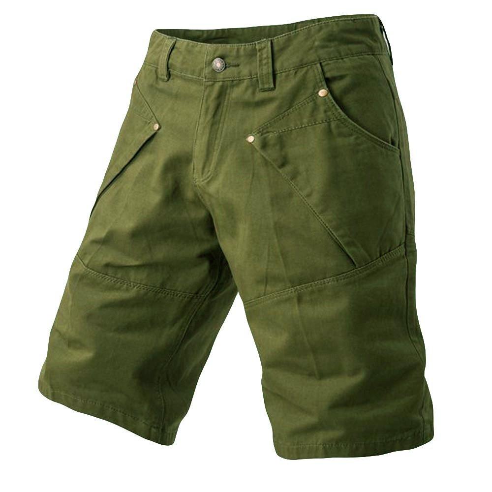 Kiasebu Mens Cargo Shorts Casual Pocket Beach Work Casual Short Trouser Shorts Pants with Pockets Army Green