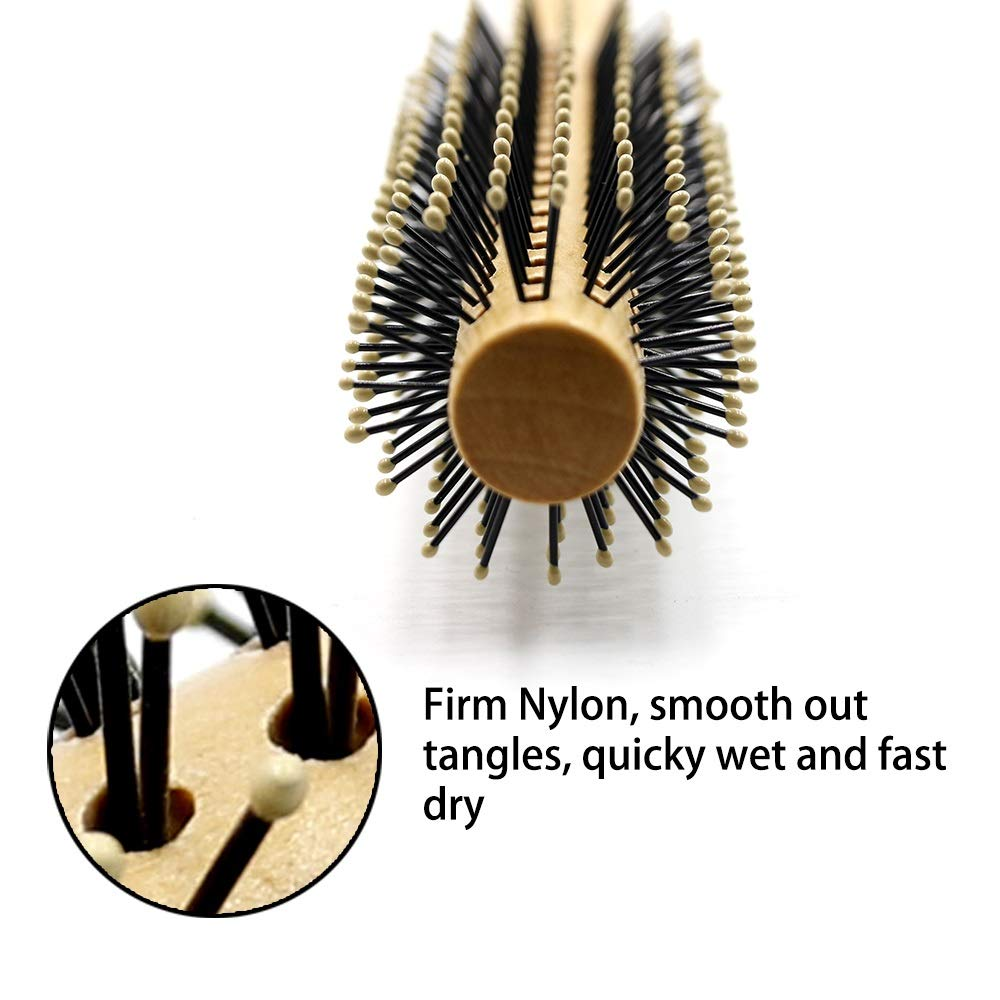 YC electronics Hair Brush Hair Comb Pro 1 Pcs Wood Round Comb Nylon Teeth Hair Curly Comb Unisex Hairdressing Brush Anti Static Styling Tool Comb for Salon (Color : A) by YC electronics