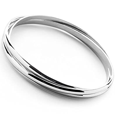 Elements Silver Women's 925 Sterling Silver Triple Russian Wedding Bangle of Flat Bands BWvrlepo