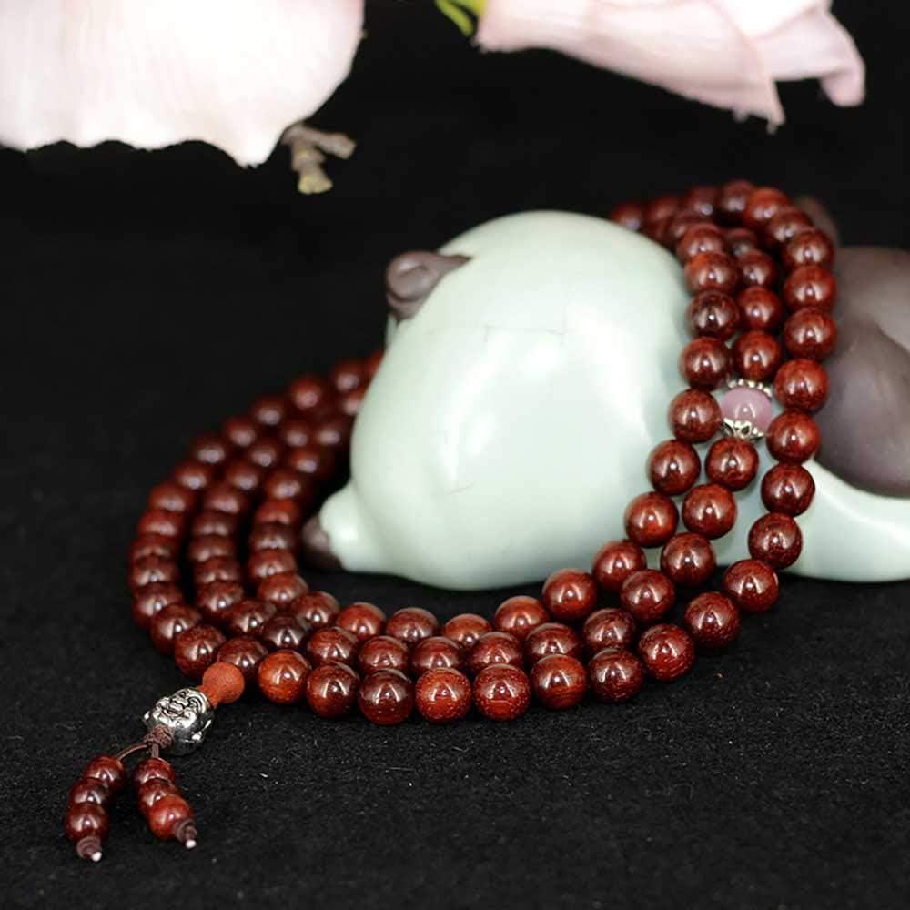HJkkls 108 Perles De Mala D/épliant Africain Perles De Bouddha en Bois De Rose Bracelets De Sandales De Sang Zambien Collier De Pri/ère Bouddhiste Tib/étain
