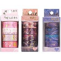 Washi Masking Tape,12 Rollen 15mm x 5M 3 Thema Patroon Tape Gekleurde Tape Kawaii Kantoorartikelen Leuke…