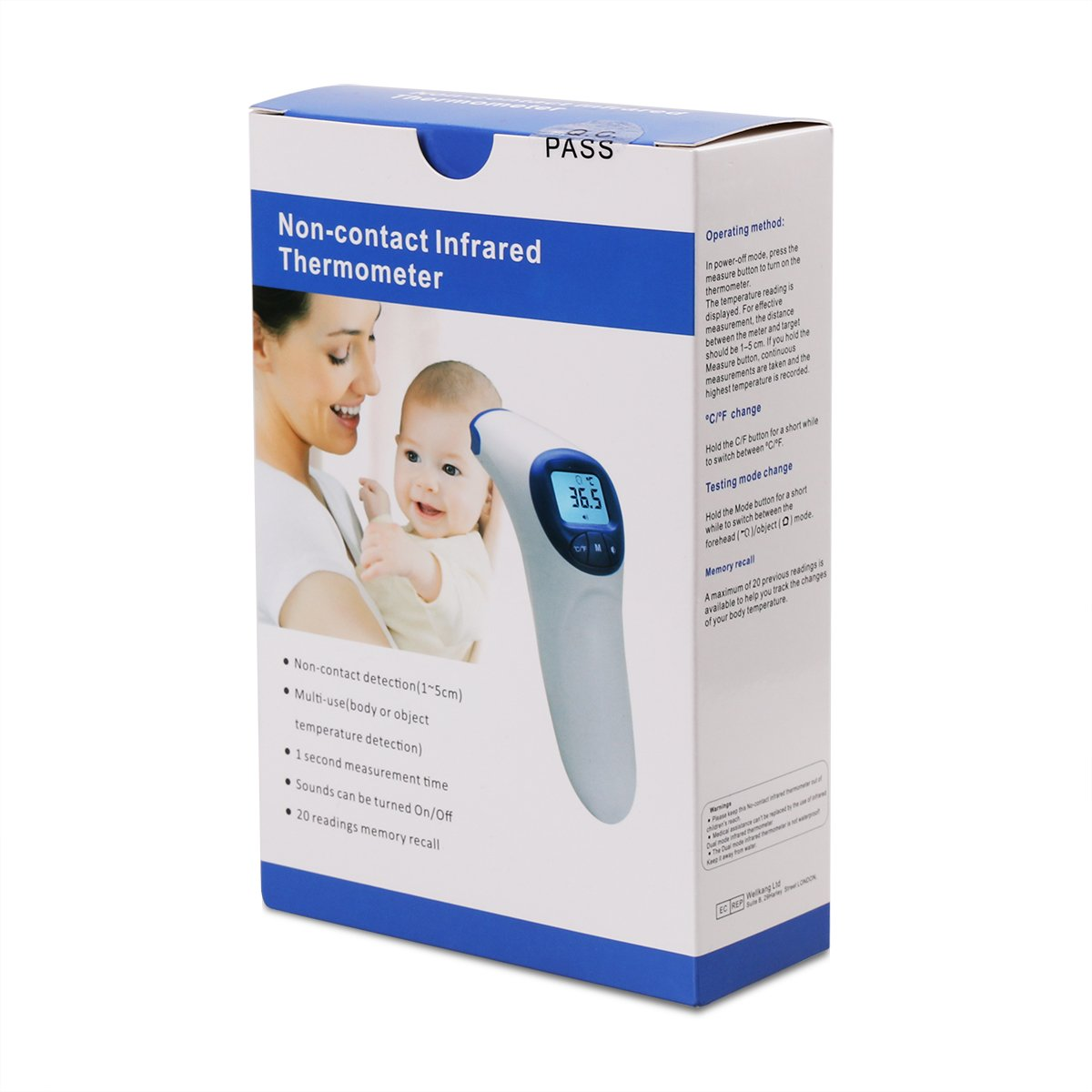 Firhealth Non Contact Infrared Digital Forehead Power Monitor Thermometer For Baby Adult And Elderly 20 Memory Recall Fever Alarm Health Personal