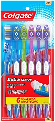 Colgate Extra Clean Toothbrush, Soft, 6 Count