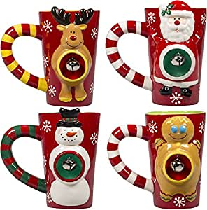 Christmas Ceramic Coffee Latte Mugs 16 Oz, Set of 4 Holiday Snowman Santa Reindeer and Gingerbread Characters With Jingle Bell In Belly Cups By Gift Boutique