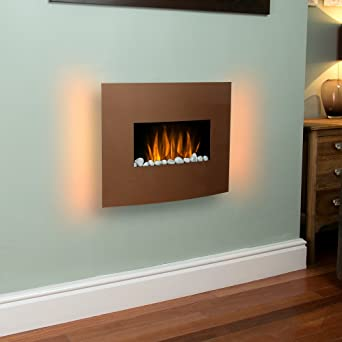 Curved Copper Effect 1KW / 2KW LED Wall Mounted Electric Fireplace with Multi-Function Remote Control: Amazon.co.uk: DIY & Tools