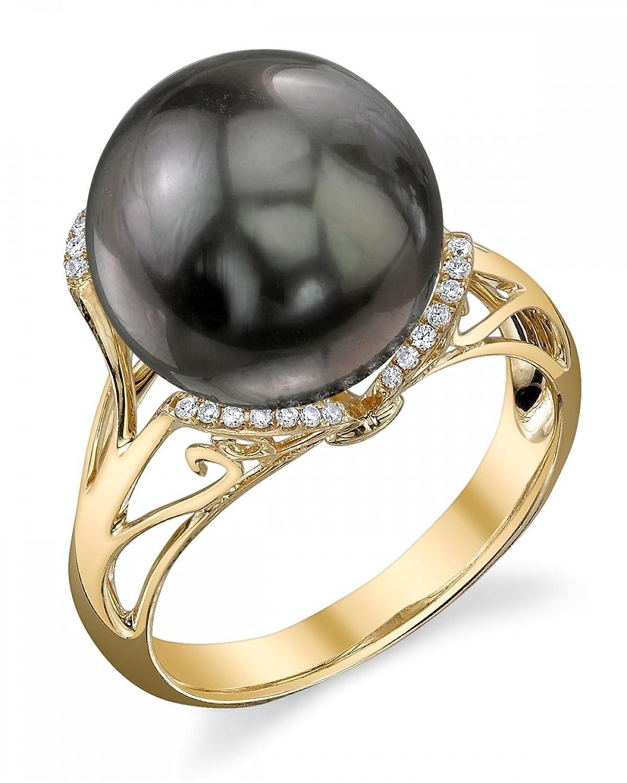11mm Tahitian South Sea Cultured Pearl & Diamond Joana Ring in 14K Gold