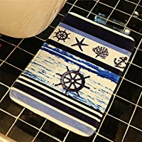 INCX Ocean Sea Design Theme Bath Mat Microfiber Foam Bath Mat Non-Slip Absorbent Bathroom Rug Carpet 32 x 20