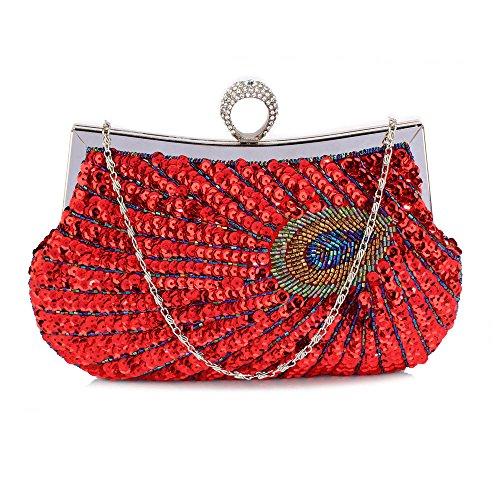 TrendStar - Cartera de mano para mujer A - Red Peacock Feather Clutch