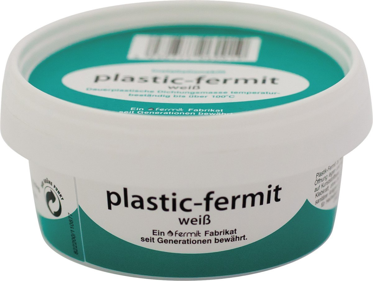 Plastic fermit White, Permanent Plastic sealant, Temperature Resistant up to Over 100 °C, 250 g