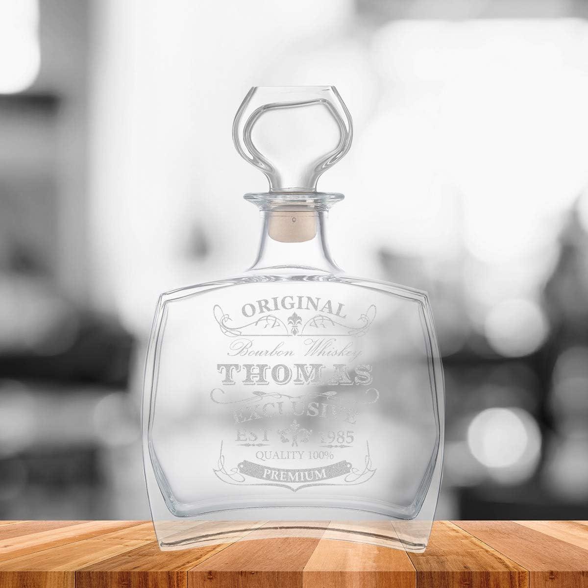 polar-effekt Elegante botella de whisky personalizada con grabado decantador de 700 ml con cierre de cristal jarra de whisky dise/ño original y exclusivo idea de regalo para cumplea/ños
