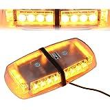 T Tocas 24 LED de luz estroboscópica de advertencia Beacon lámparas de emergencia Mini bar riesgo ligero con base magnética fuerte, para el coche SUV Barco de techo 12V CC (LED ámbar-24)