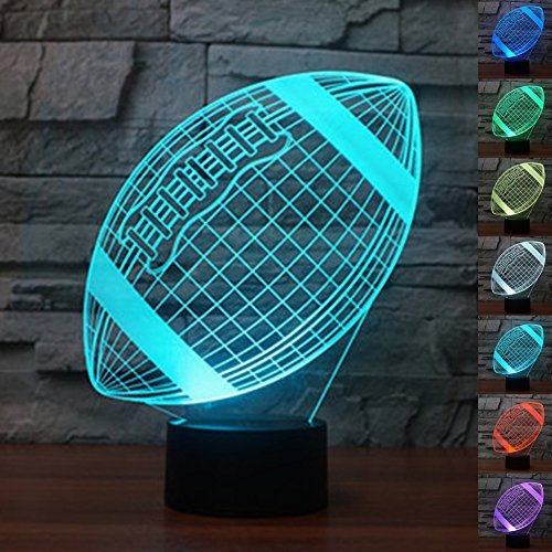Echodream LED Night 3D Illusion Bedside Table Lamp 7 Colors Changing Sleeping Lighting with Smart Touch Button Cute Gift Warming Present Creative Decoration Ideal Art and Crafts, Football Rugby