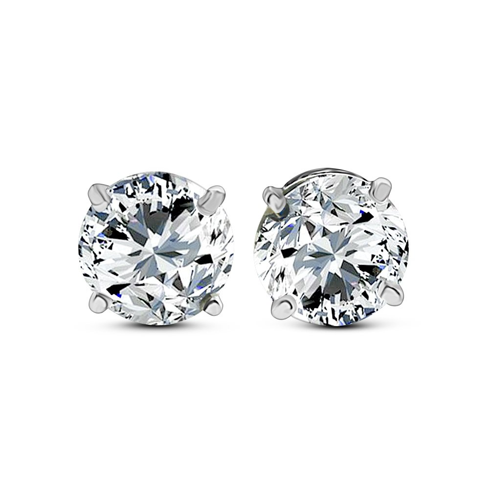 DTLA Solid 14k White Gold Stud Earrings with Round Cubic Zirconia Screw Back - 1.5 carats by DTLA Fine Jewelry (Image #3)