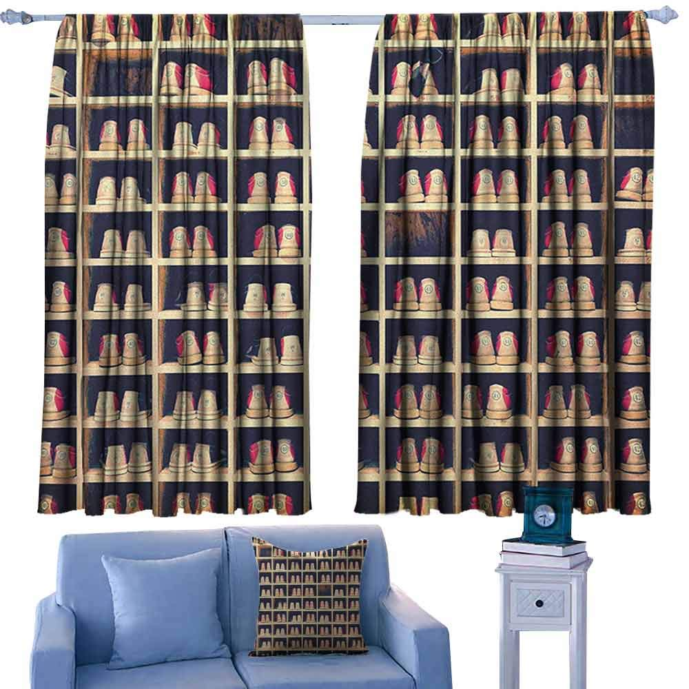 ParadiseDecor Bowling Party Bocking Ight Rod Curtains Collection of Bowling Shoes in Their Rack Vintage Style Print,for Baby Bedroom,W42 x L45 Inch by ParadiseDecor