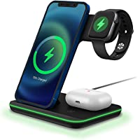 Wireless Charger DOSHIN 15W Fast Charger Stand 3 in 1 Docking Charging Station for iPhone 12/12 Pro/SE/11 Pro/XS max/XR…