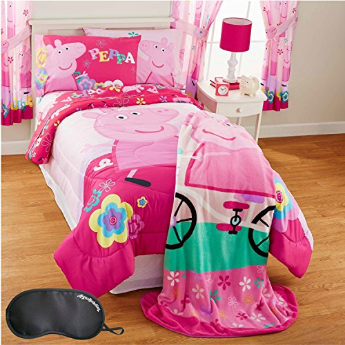 Peppa Pig Tweet Tweet Oink 4-Piece TWIN Size Bed in Bag Bedding Set with Sleep Mask