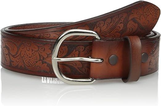 Nocona Mens Brown Basic Floral-Buckle Belt