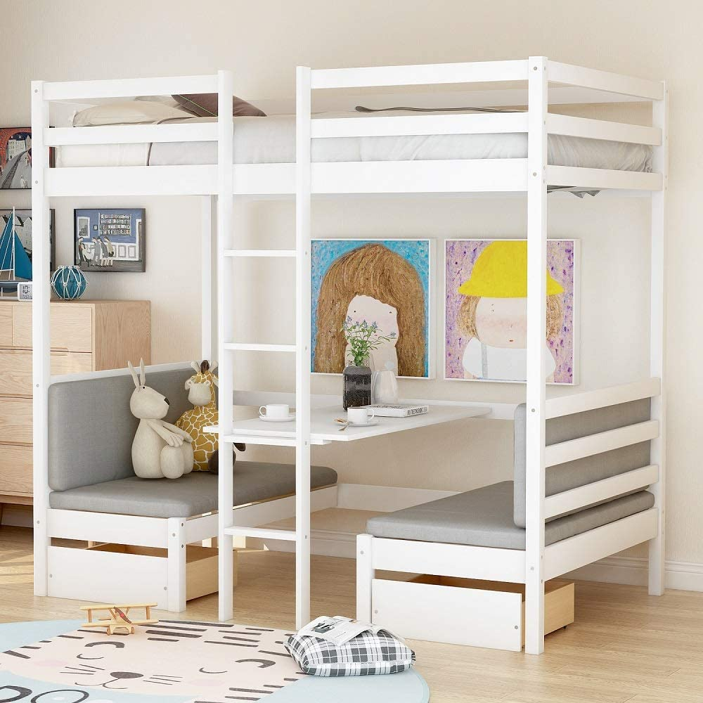 Amazon Com Rhomtree Wood Twin Size Bunk Bed With Desk Underneath And Chair Loft Bed Multifunctional Bed For Boys Girls Teens Kids Bedroom Dorm Kitchen Dining