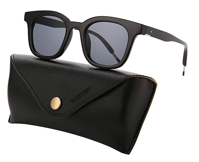 10b679a824 Square Sunglasses Womens Mens Plastic Frame Mirrored lens U573 (BLACK)
