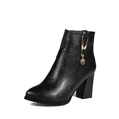 Women's Pointed Closed Toe Low-Top High-Heels Solid PU Boots