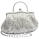 MG Collection Myra Beaded Evening Bag, Silver, One Size