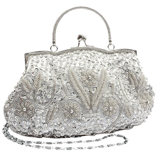 Beaded Satchel (MG Collection Myra Beaded Evening Bag, Silver, One Size)