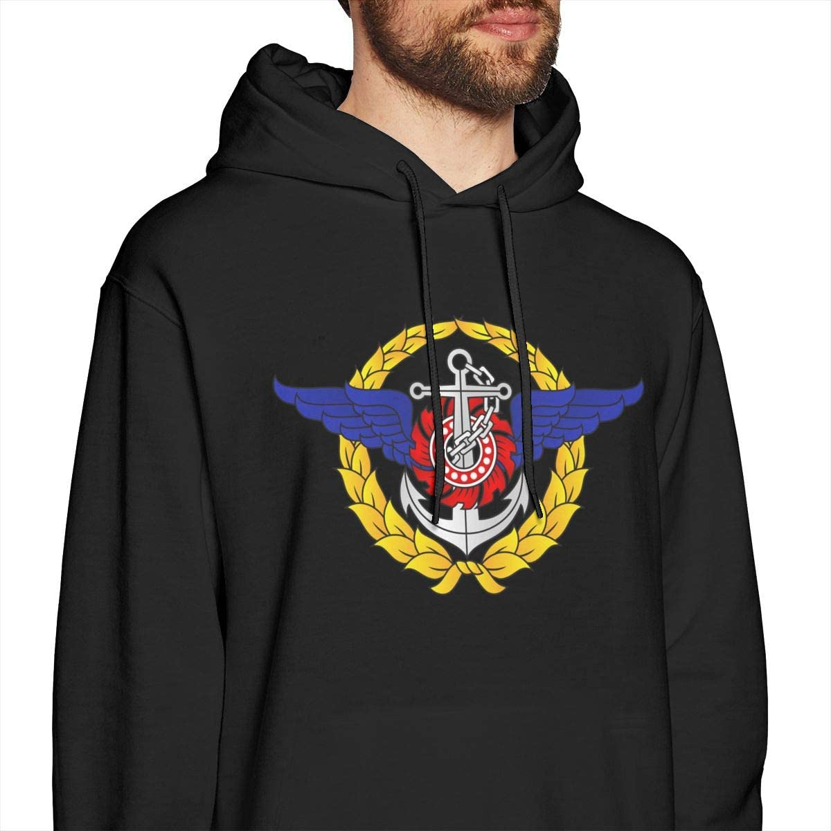 Royal Thai Armed Forces Mens Pullover Hooded Sweatshirt Cozy Sport Outwear Black